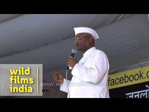 Anna Hazare with Facebook poster