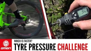 MTB Tyre Pressure Challenge: Soft Tyres Vs Hard Tyres Vs The 'Ideal' Tyre Pressure(We put tyre pressure to the test – are harder tyres faster than softer tyres? And, can either beat our 'ideal' pressure? Have a guess in the comments and watch ..., 2016-08-07T12:36:56.000Z)