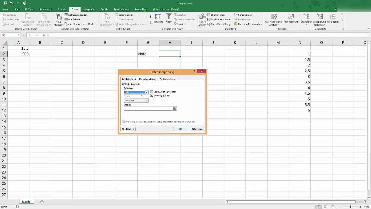 Excel: Datenüberprüfung bei der Eingabe - YouTube