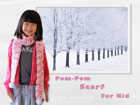 Knit Pom Pom Scarf With Snowball Yarn