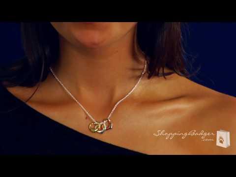 three tone heart charm necklace