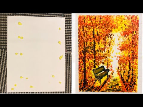 Finger Painting Scenery | Beautiful Abstract Painting Demo | Bench in Autumn Trees Landscape |