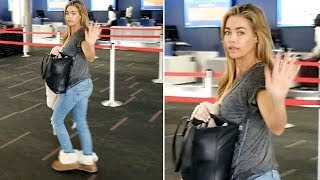 Casual Beauty Denise Richards Waves Goodbye At LAX