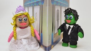 Green Baby WEDDING BRIDE AND GROOM - Stop Motion Cartoons For Kids