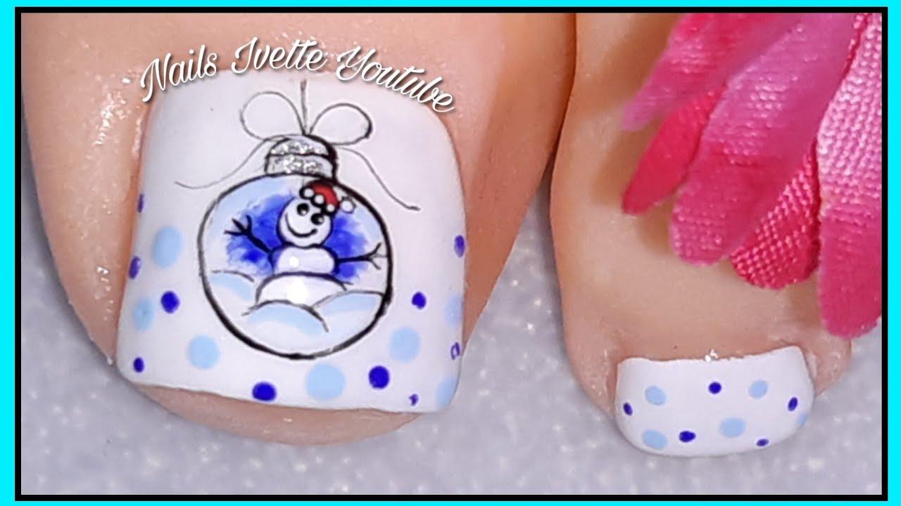 Decoración De Uñas Pie Con Muñeco De Nieve Diseño De Uñas Navideñas Pie Paso A Paso