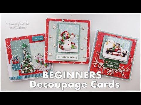 Easy Decoupage Christmas Wonderland Cards ♡ Trimcraft ♡ Maremi's Small Art ♡