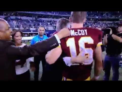 Angry PR wont let Colt Mccoy have an interview...NO MEANS NO
