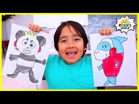 Learn to Draw and Color Combo Panda for Kids with Ryan!! - Видео онлайн
