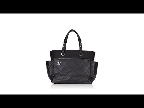 Chanel Paris Biarritz Grand Shopping Tote Black