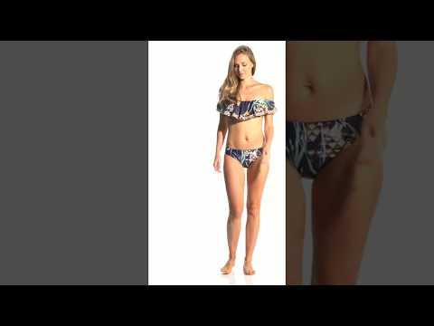 Trina Turk Fiji Floral Mix Off The Shoulder Bandeau Bikini Top | SwimOutlet.com