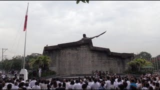 Isko Moreno leads flag raising rite for 1st time at spruced up Bonifacio Shrine