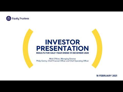Equity Trustees 2021 Half Year Results Investor Presentation
