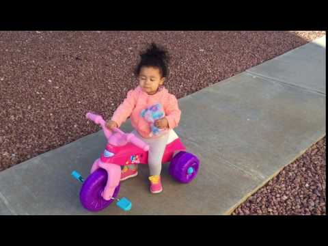 01/30/16 Natalie 1st Time On Barbie Tricycle