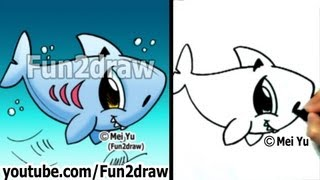 How to Draw Easy - How to Draw a Shark - Draw Animals - Fun2draw