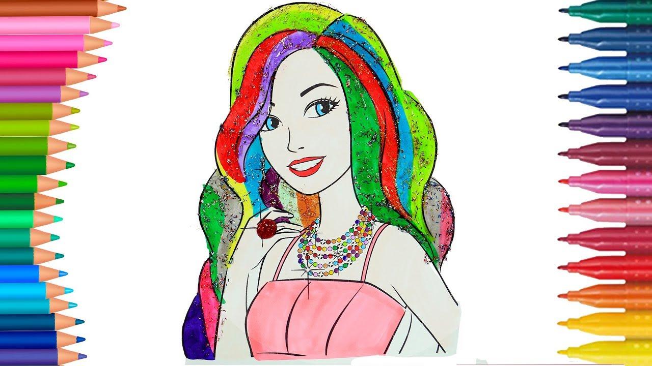 Malvorlagen Barbie mit Regenbogen Sparkle Hair Malvorlagen | Lernen ...