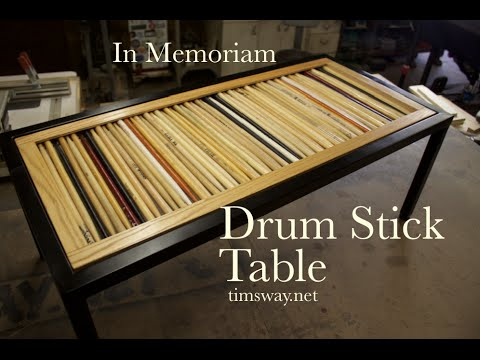 Reclaimed Wood, Steel And Drum Sticks Coffee Table