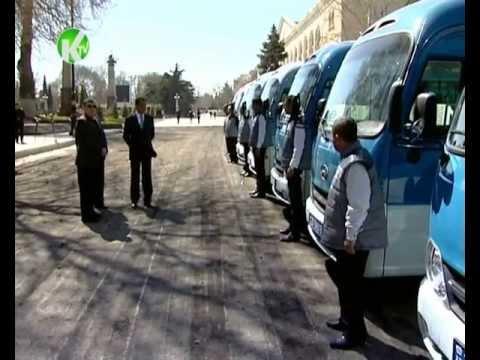 Gəncə şəhərinə gətirilmiş yeni avtobusların təqdimatı