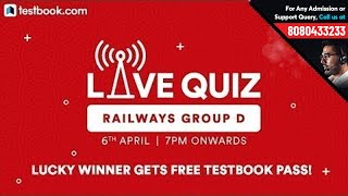 Railways Group D Quiz | Free Test Friday | Win 4 Month Pass by Testbook.com