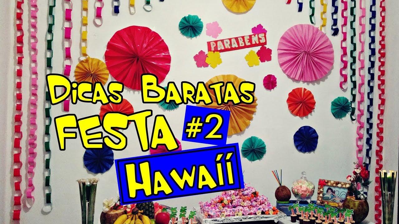 #2 Dicas Baratas Decoraç u00e3o Festa Hawaíí Parede Colorida YouTube -> Decoração De Festa Havaiana Simples