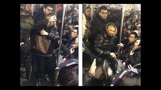 ✊ Россиянка- адвокат набросилась  с пинками на людей  в Нью-Йоркском метро 😲 (16+)