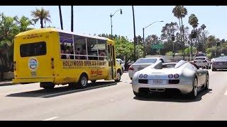 فيديو ارنولد شوارزنيجر يتجول بسيارته بوغاتي فيرون في كاليفورنيا