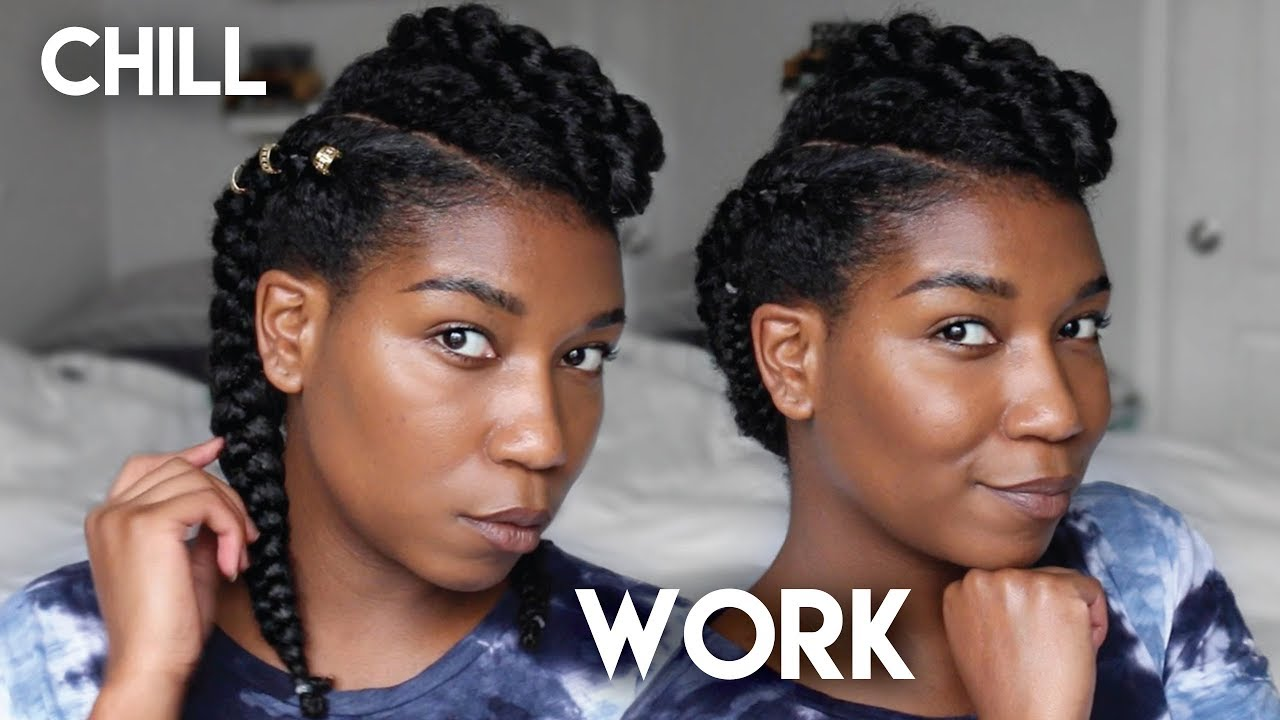 2 ways - simple protective hairstyle