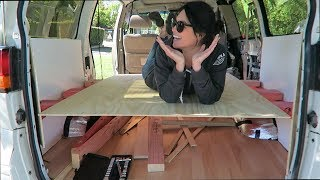 Floating bed frame // CAMPER VAN CONVERSION Ep. 8