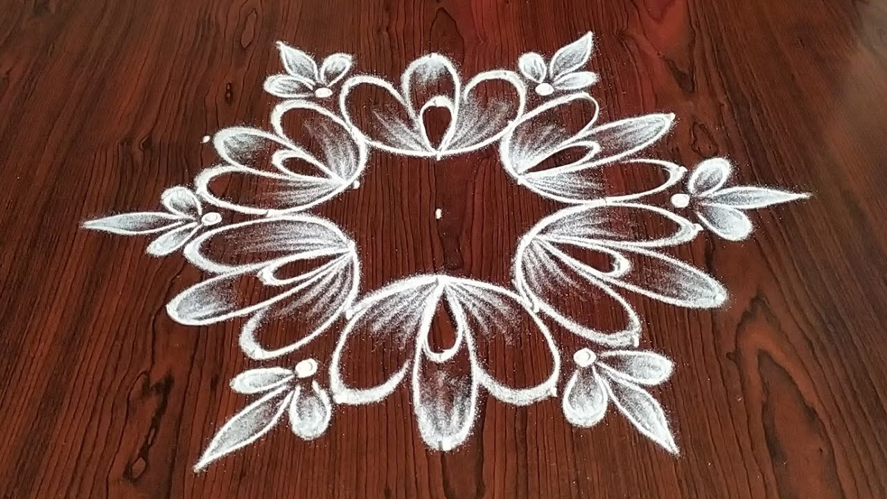 Simply easy Daily kolam 7×4 dot's..