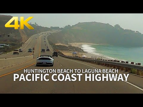 Driving Pacific Coast Highway From Huntington Beach To Laguna Beach, Los Angeles, California, 4K UHD