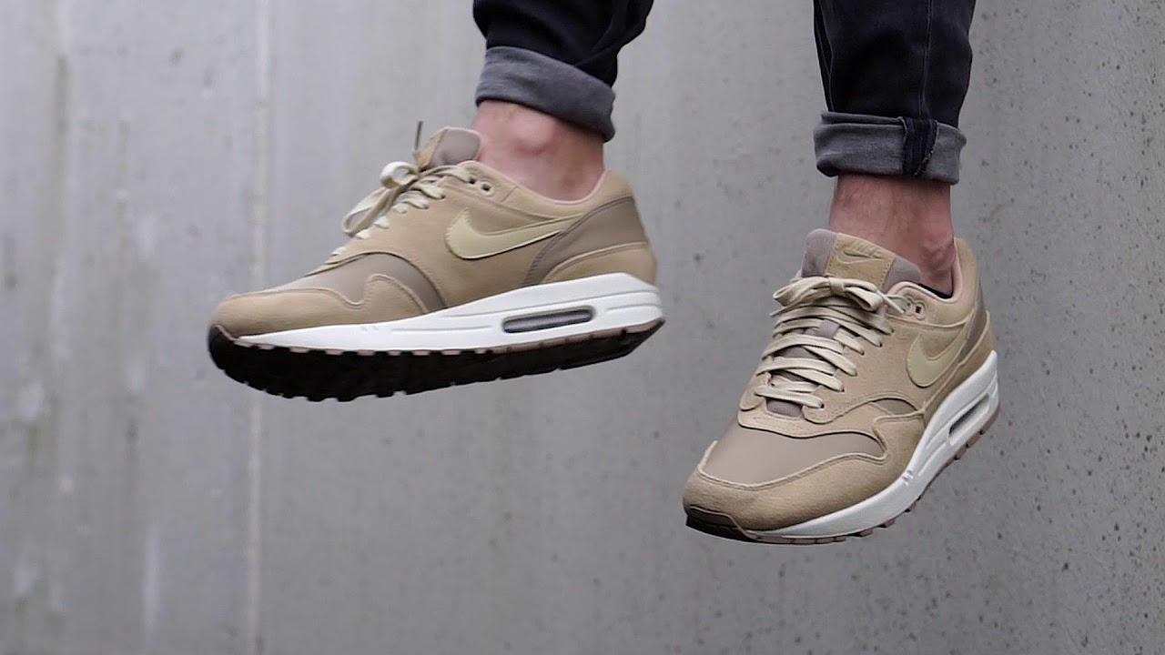 new arrival bfa9a 32113 On-Feet  Nike Air Max 1 Premium Leather Khaki