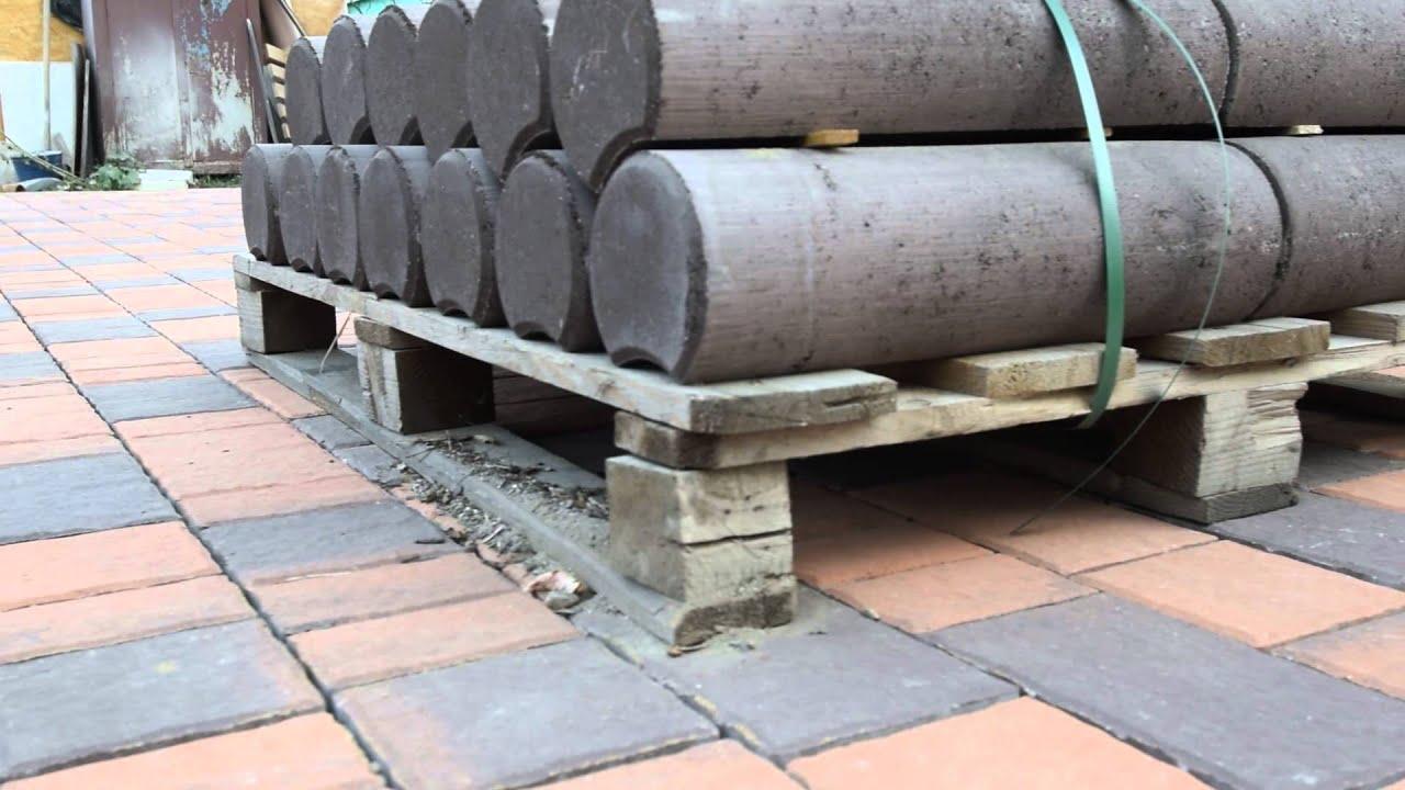 Столбики бетонные - наборная клумба. Эстетично и технологично .