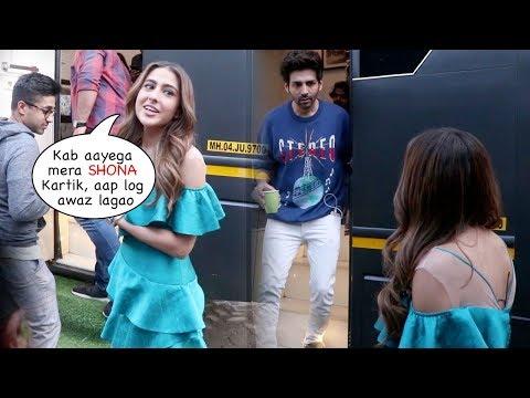 Sara Ali Khan Patiently Waits For BF Kartik Aaryan Outside his Vanity for Love Aaj Kal