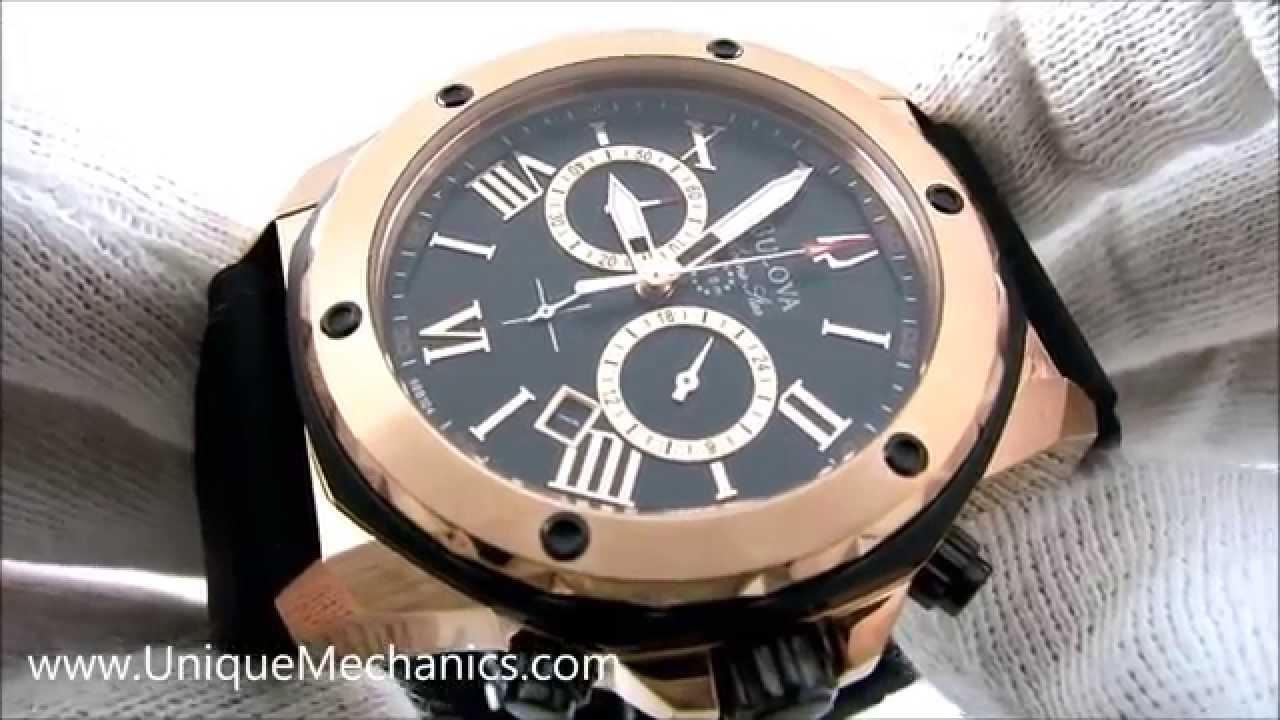 def1fa1b2 Bulova 98B104 Men's Marine Star Chronograph Black Rubber Watch - YouTube