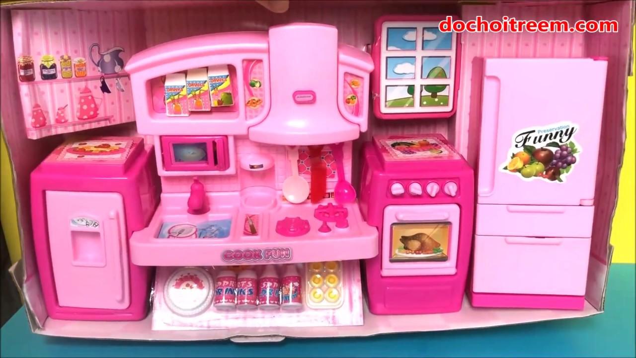 Đồ chơi nấu ăn bé gái có bếp, tủ lạnh – Cooking toys for kids – Chị Chim Xinh