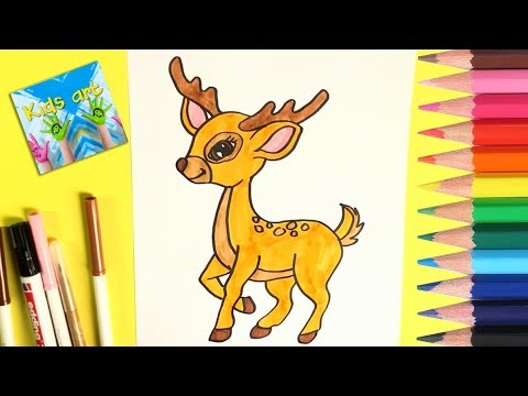 How To Draw And Color Cute Baby Deer Easy Kids Art Youtube