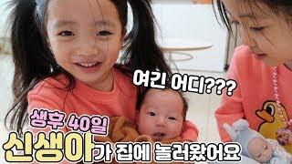 6살 아이가 생후 40일된 신생아를 만났을 때 반응! 저번달 태어난 예콩이 동생이 집에 놀러왔어요!