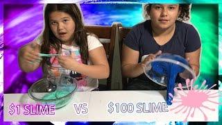 $1 SLIME VS $100 SLIME CHALLENGE  LIFE WITH BROTHERS