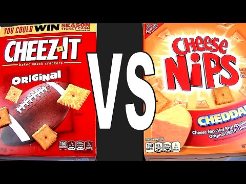 Cheez-It Vs. Cheese Nips, Which Cheddar Snack Cracker Is The Best? FoodFights Review Live Taste Test
