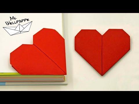 Origami Herz falten als Lesezeichen - Muttertagsgeschenke basteln mit Kindern