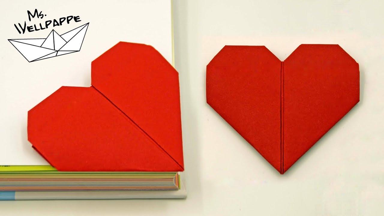 origami herz falten als lesezeichen muttertagsgeschenke basteln mit kindern youtube. Black Bedroom Furniture Sets. Home Design Ideas