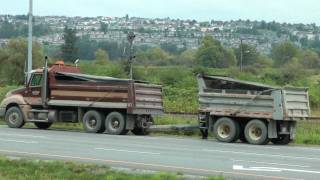DUMP TRUCK PULLED OVER FOR VEHICLE INSPECTION ON LOUGHEED HWY COQUITLAM AUG 29 2011.mov