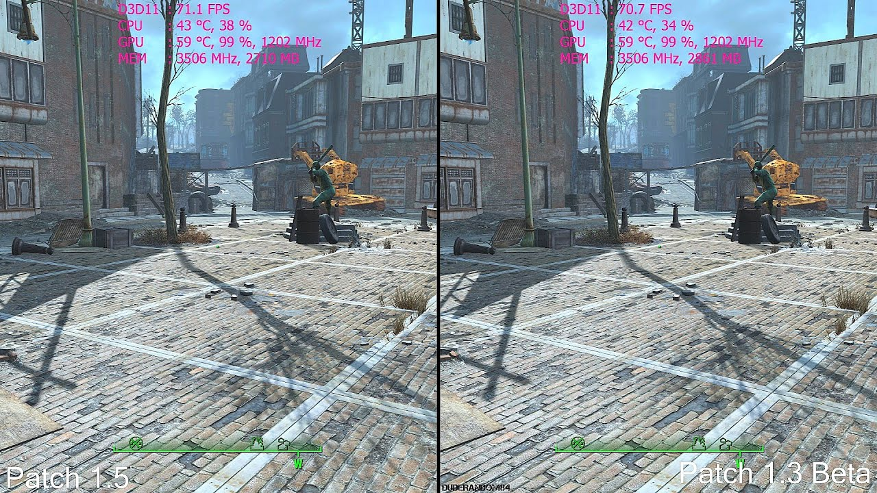 fallout 4 patch 1 5 vs patch 1 3 frame rate comparison youtube