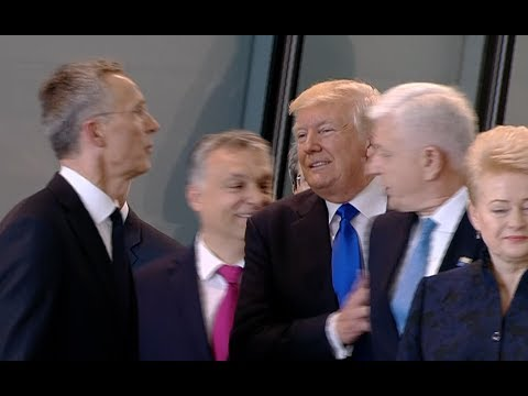 Trump Pushes His Way To Front At NATO Summit