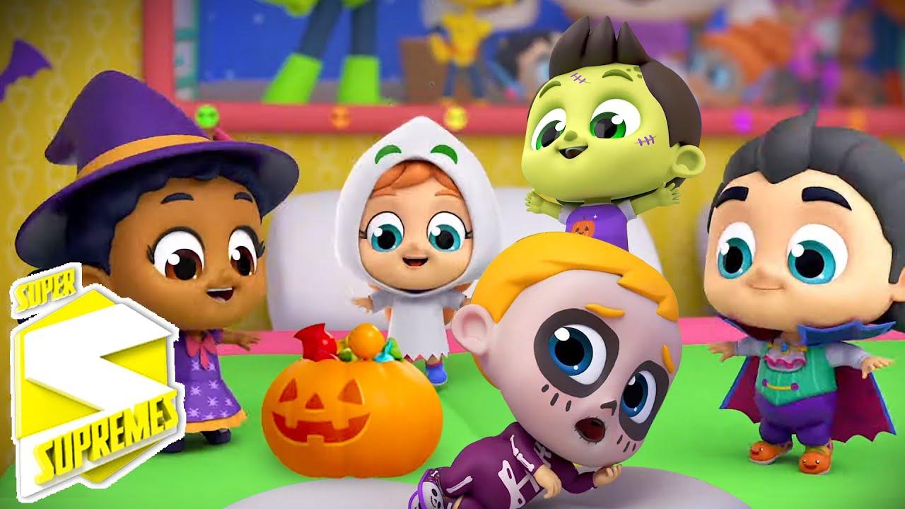 Cinco pequeños monstruos | Rimas para niños | Super Supremes Español | Dibujos animados