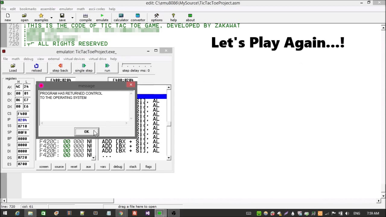 Game Play of Tic Tac Toe in Assembly Language (Intel 8086)
