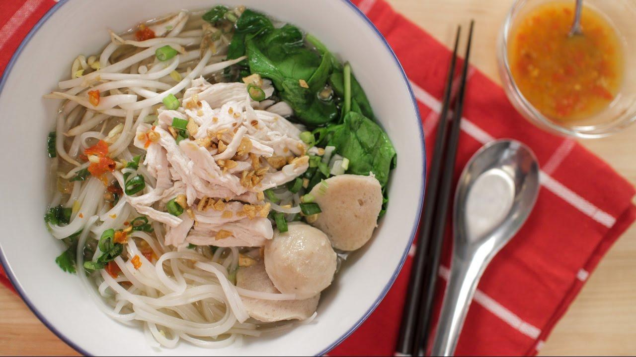 Thai Chicken Noodle Soup Recipe ก๋วยเตี๋ยวไก่ฉีก - Hot ...