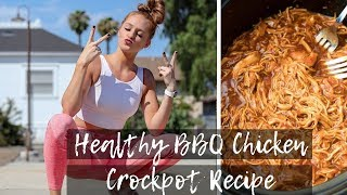 EASY & HEALTHY SHREDDED BBQ CHICKEN CROCKPOT RECIPE