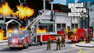 GTA 5 Firefighter Mod Tiller Ladder Firetruck Responding To Structure Fires & Motor Vehicle Accident