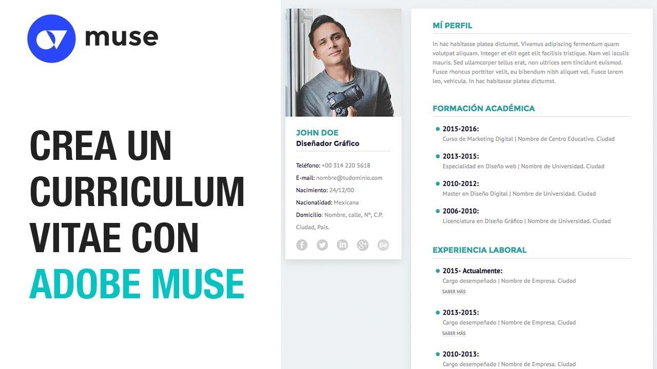 CREA UN CURRICULUM VITAE CON ADOBE MUSE CC 2017 - YouTube