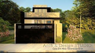 Casa Moderna Em Meio Terreno - 6 x 30m | PE DIREITO DUPLO